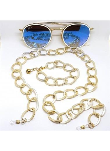 Quzucuk Kids Venüs Soft Gold Büyük Halka Kalın Gözlük Zinciri & Bileklik Seti Altın